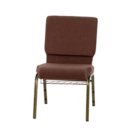hercules series 18 5 w church chair in brown fabric with cup book rack gold vein frame fd