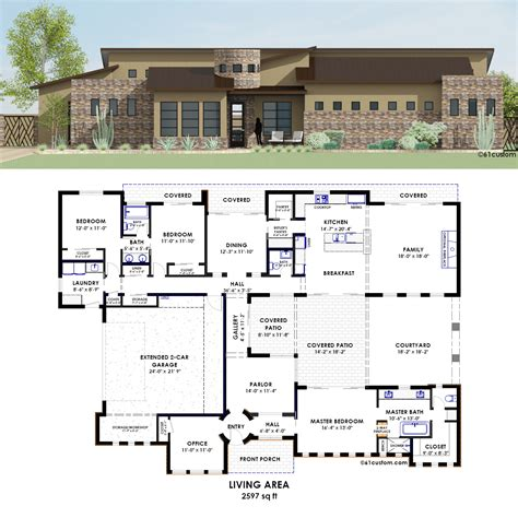 contemporary side courtyard house plan 61custom contemporary side courtyard plan