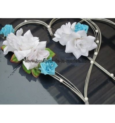 d 233 coration voiture mariage quot cœurs quot bleu turquoise blanc et argent bouquet de la mariee