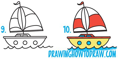 Cartoon Drawing Of A Boat by How To Draw A Cartoon Sailboat From The Letter Quot B Quot Shape
