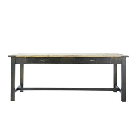 mango wood and metal dining table w 200cm alfred maisons du monde