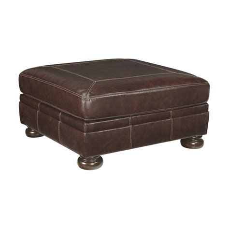 Ashley Banner Oversized Square Leather Ottoman In Coffee
