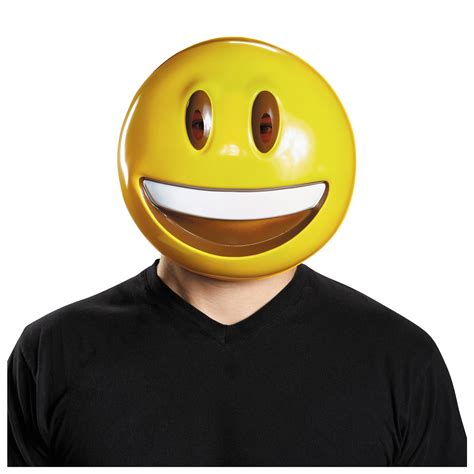 Plastic Smile Happy Face Grin Emoji Mask Adult Teen Funny