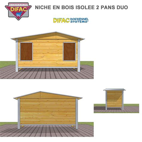 niche d ext 233 rieur pour chien en bois isol 233 e 2 pans 930035 difac