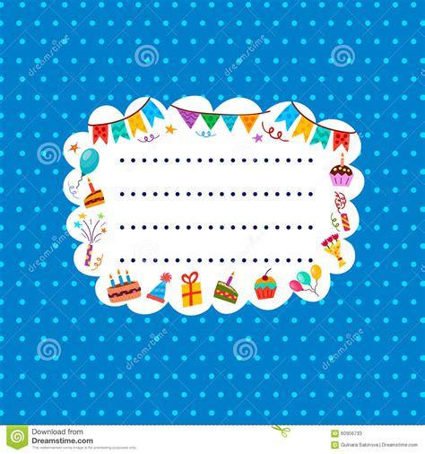 carte bleue de salutation ou d invitation avec le cadre pour votre texte illustration de vecteur