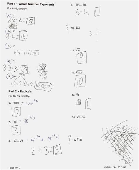 Unit 7 Exponent Rules Worksheet 2 Answer Key  Rational Exponents Worksheet Pdf And Answer Key