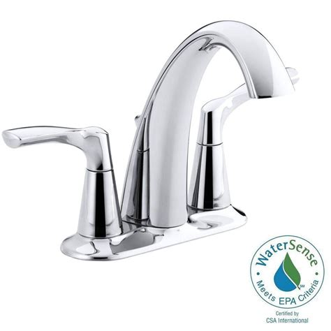 kohler mistos 4 in centerset 2 handle water saving bathroom faucet in polished chrome k r37024