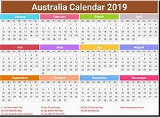 Yearly Calendar Australia Annual Australia Calendar 2019
