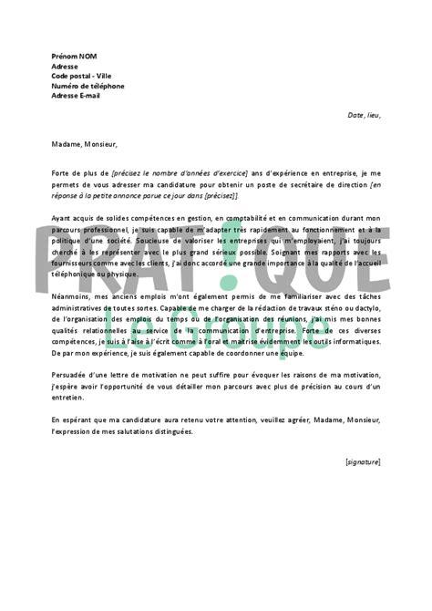 application letter sle modele de lettre de motivation pour emploi de secretaire