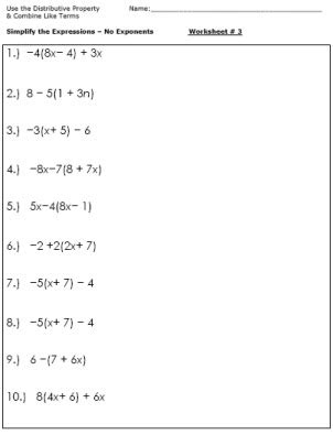 Algebra Worksheets For Simplifying The Equation  Projects To Try  Pinterest  Algebra, Algebra