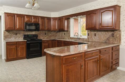 Kitchen Wall Color Ideas With Cherry Cabinets by Crema Bordeaux Granite With Full Backsplash Traditional