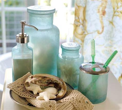 blue glass bath accessories tropical bathroom