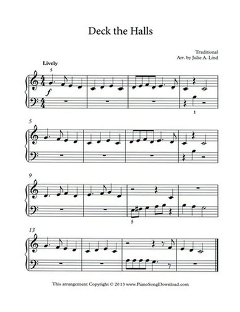 Deck The Halls Easy Piano by Deck The Halls Free Easy Piano Sheet Music