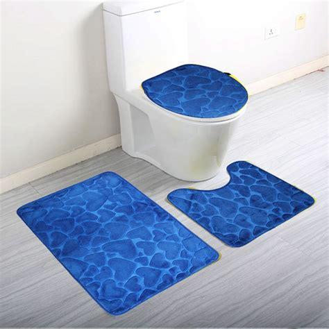 3pcs set home bathroom door floor mat pad set soft coral