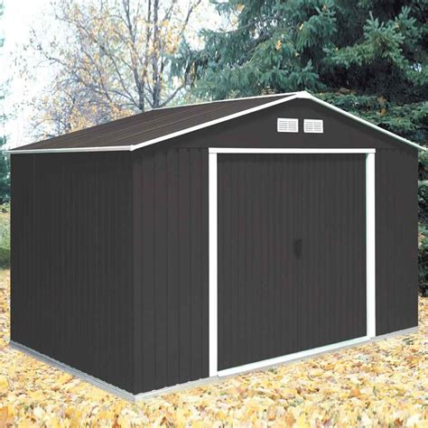 shedswarehouse madrid 10ft x 8ft anthracite metal shed 3 21m x 2 42m