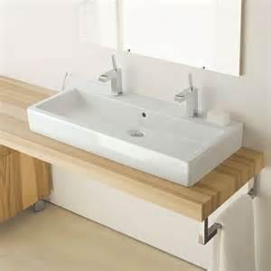 vero vasque 224 poser 100 cm avec 2 trous de robinets