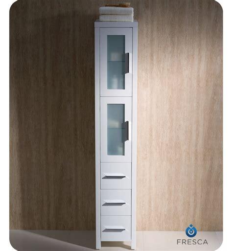 fresca fst6260wh torino bathroom linen side cabinet