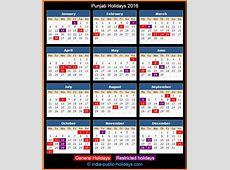 Punjab Holidays 2016