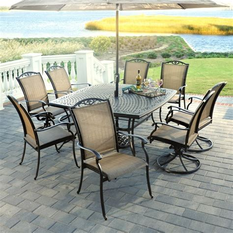 9 roma aluminum patio dining set by agio select