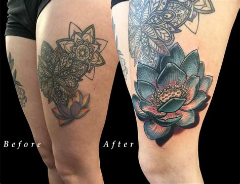 Lotus Flower Thigh Color Coverup By Nicole Laabs