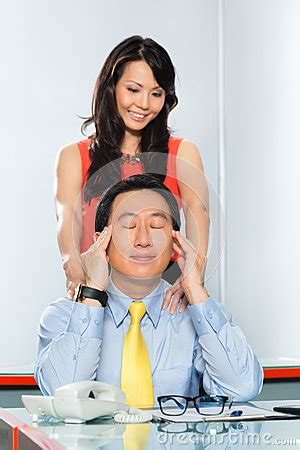 Asian Colleagues Having Office Affair Stock Image Image