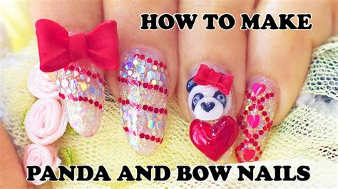 How To Make 3d Panda Nails And Bows Charms With Acrylic