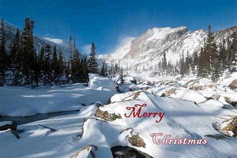 Merry Christmas Snowy Mountain Scene By Cascade Colors