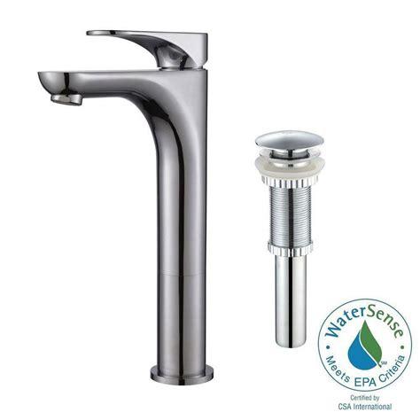 kraus robinet de salle de bain avec vaisseau 224 levier unique aquila fini de chrome avec drain