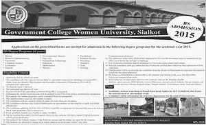 Government College Women University Sialkot Admission in ...