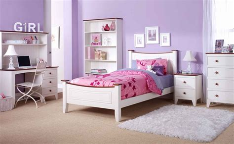 Girls Bedroom : Amazing White And Purple Color Of Minimalist Furniture For