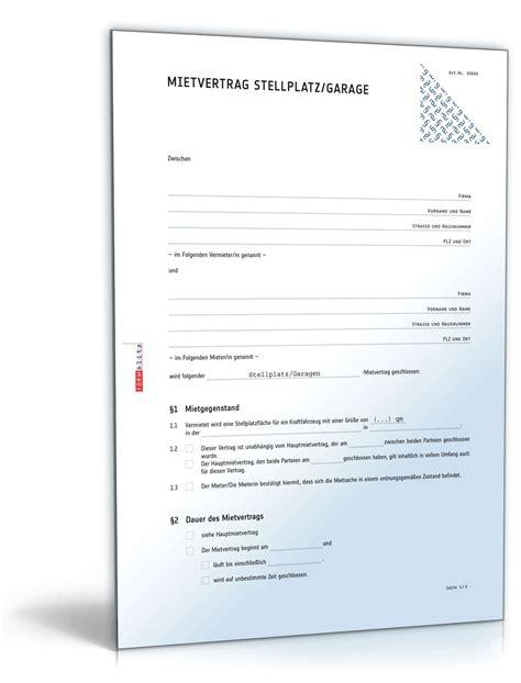 Mietvertrag Stellplatz Rechtssicheres Muster Zum Download