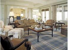 Casual Living Room With MenswearInspired Plaid Area Rug