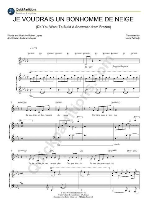 partition piano je voudrais un bonhomme de neige la reine des neiges partition piano