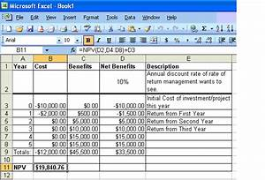 net present value spreadsheet template calculating the ...