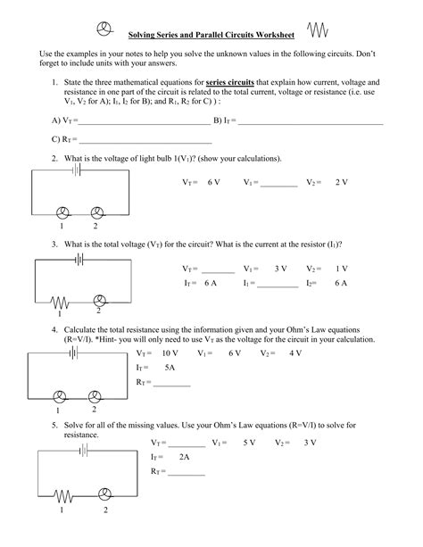 Parallel Circuit Problems Worksheet Worksheets For All